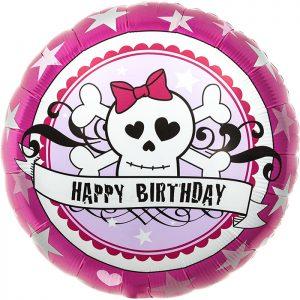 """Birthday Skully Pink 18"""" D2-01"""