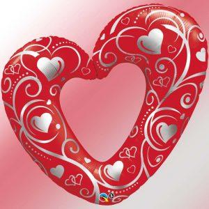M42 Hearts & Filigree Red * 1b