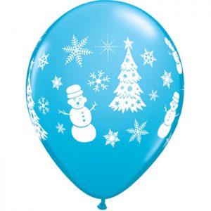 11″ 21606 Festive Winter Scene Robin's Egg Blue *6b