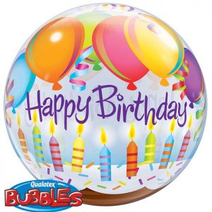 Bubble 22″ 25719 Birthday Balloons & Candles *1b