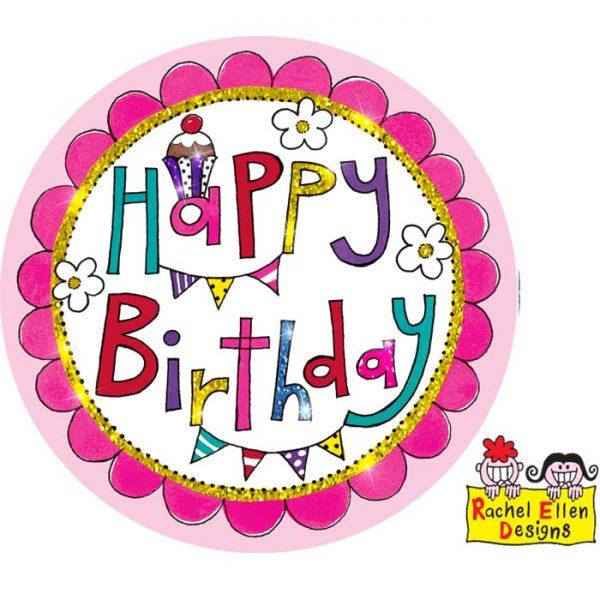 Badge Happy Birthday Perfect Pink * 1ct Ref : 25752