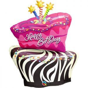 M41″ 16081 Birthday Funky Zebra Stripe Cake *1b
