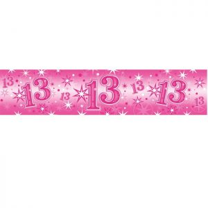 Foil Banner 45556 Age 13 Birthday Pink Sparkle *1ct