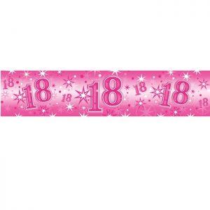 Foil Banner 45558 Age 18 Pink Sparkle *1ct
