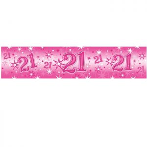 Foil Banner 45560 Age 21 Birthday Pink Sparkle *1ct