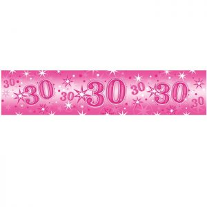 Foil Banner 45561 Age 30 Birthday Pink Sparkle *1ct
