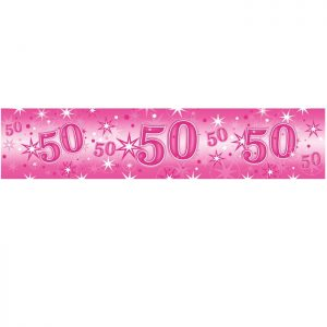 Foil Banner 45563 Age 50 Pink Sparkle *1ct