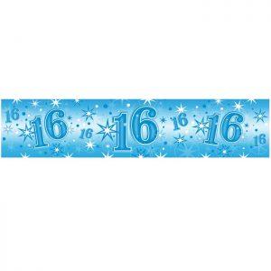 Foil Banner 45566 Age 16 Blue Sparkle *1ct