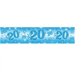 Foil Banner 45568 Age 20 Blue Sparkle *1ct