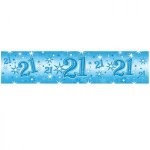 Foil Banner 45569 Age 21 Blue Sparkle *1ct