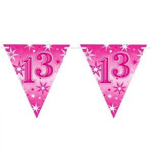 Guirlande Drapeaux 45576 Age 13 Pink Sparkle *1ct
