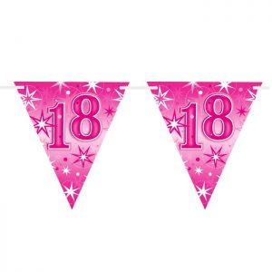 Guirlande Drapeaux 45578 Age 18 Birthday Pink Sparkle *1ct