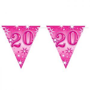 Guirlande Drapeaux 45579 Age 20 Pink Sparkle *1ct