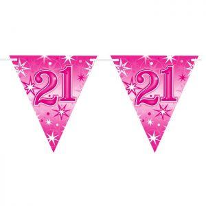 Guirlande Drapeaux 45580 Age 21 Pink Sparkle *1ct