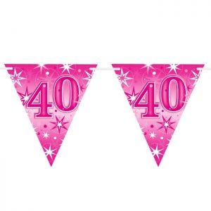 Guirlande Drapeaux 45582 Age 40 Pink Sparkle *1ct