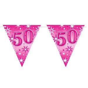 Guirlande Drapeaux 45583 Age 50 Birthday Pink Sparkle *1ct