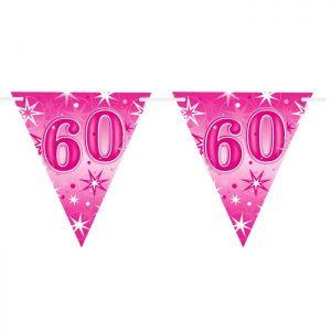 Guirlande Drapeaux 45584 Age 60 Pink Sparkle *1ct