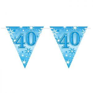 Guirlande Drapeaux 45615 Age 40 Blue Sparkle *1ct