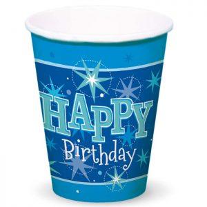 Gobelet Carton 45622 Happy Birthday Blue Sparkle *8ct