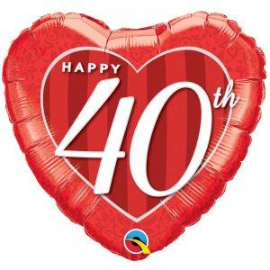 M18″ 49115 Happy 40th Damask Heart *1b