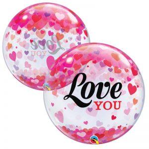"""Bubble 22"""" 54604 Love You Confetti Hearts *1b"""