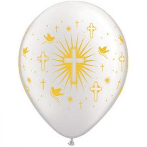"""I11"""" 86384 Cross & Doves Pearl White *50b"""