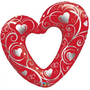M14″ 40489 Hearts et Filigree Red *1b