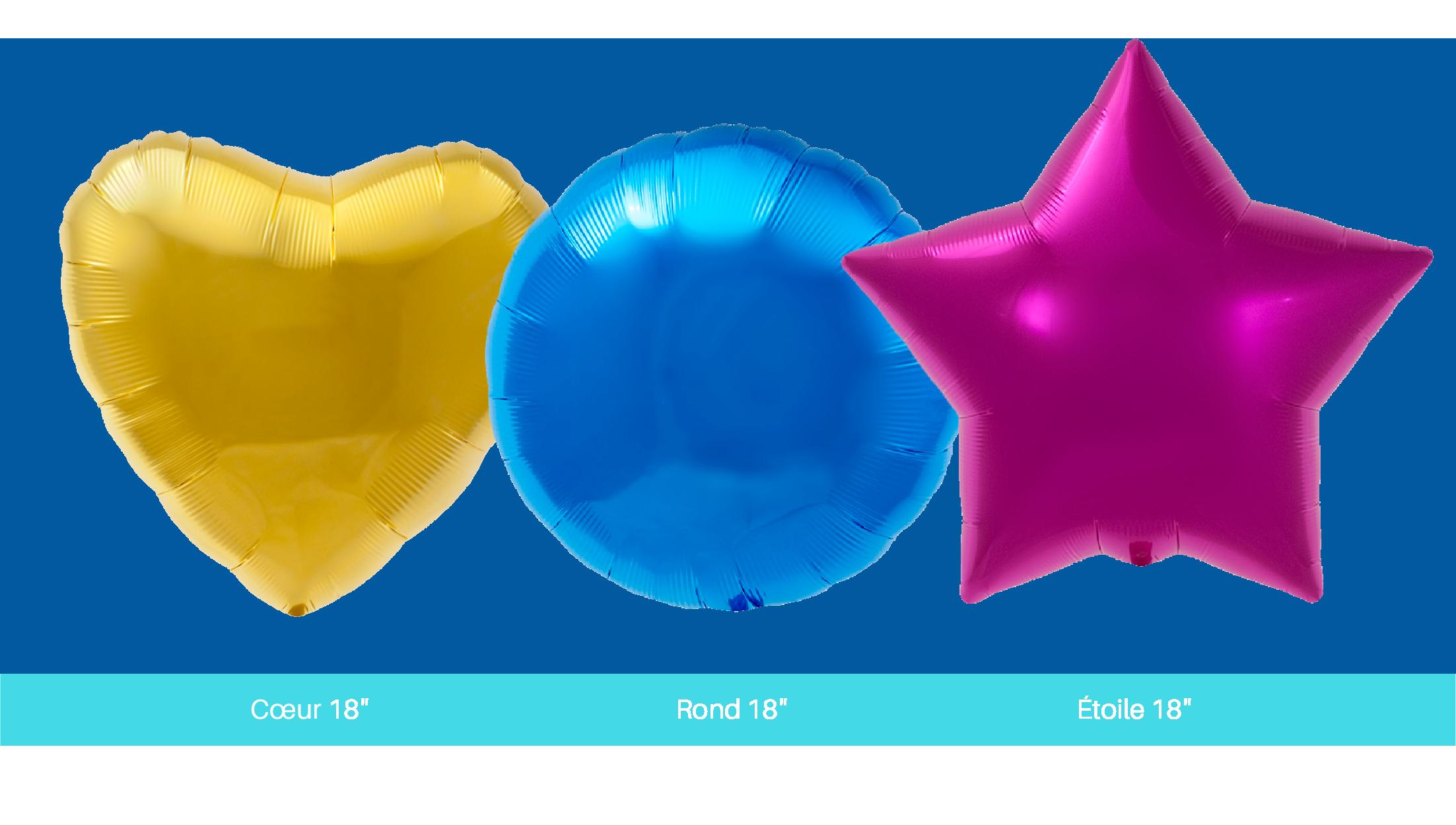 différentes tailles formes ballons aluminium impression