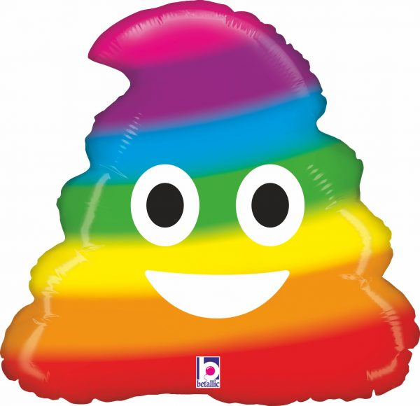 Ballon Aluminium 20″ Emoji Rainbow Poo- Grabo
