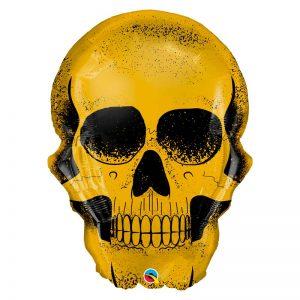 "Ballon Aluminium 36"" - Golden Skull - Qualatex"