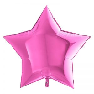 Ballon Aluminium 18″ Étoile Fuchsia / Emballé – Grabo