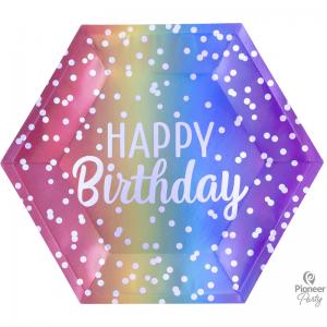 Assiettes Hexagon Rainbow Ombre