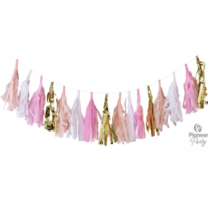 Tassel Pink White & Gold
