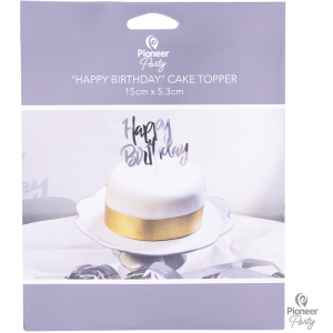 Cake Topper Happy Birthday Iridescent