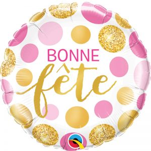 "Ballon Aluminium 18"" Bonne Fête Pois Rose et Or"